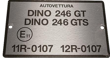 Fuse Cover Transfer Plate Ferrari 246